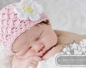 Baby girl Crochet Beanie Hat  Pink with Daisy Flower 0 to 3 months