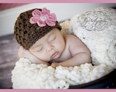 Newborn Crochet Hats, Crochet Baby Hats, Baby Photo Prop, Cotton with Rose and Pink Daisy Flower 3 to 6 Months