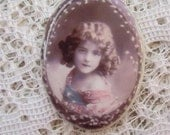 Precious Image of Little Girl....Antique/Vintage Photos Retouched on a Fine Porcelain Cameo 40x30mm Make a Cherished Jewelry Heirloom....
