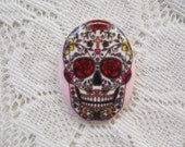 Sugar Skull Cabochon Tattoo Inspired Cabochon Skull Cameo 30x40 Unset Cabochon 40x30 Porcelain Glass Cabochon