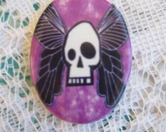 Skull Cabochon Tattoo Inspired Cameo Skull Cameo Rock n Roll Cabochon Gothic Cabochon Skull Porcelain Cameo  30X40 MM Ready to set