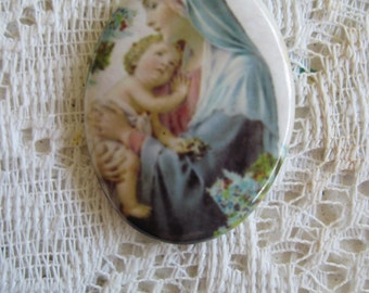Religious Cabochon Madonna With Child Jesus Cabochon 40X30 Religious Cameo Jewelry Design Mosaics Crafts