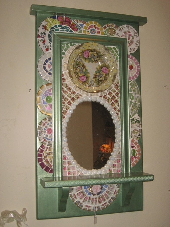 Gorgeous Mosaic Mirror  One of a Kind Mosaic Art Shabby Vintage Nipped China Pieces Beautifully Set On Hall Mirror