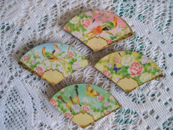 Beautiful shabby chic asian fans mosaic tiles by for Shabby chic wall tiles