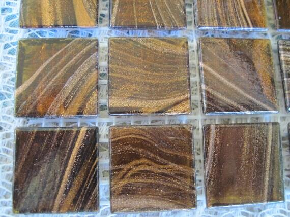 Gorgeous Bronze Mosaic Glass Tiles Brown Mosaic Tiles Brown with Gold Streaks Glass Tiles for Mosaics Set of 70