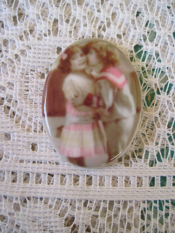 Vintage Retouched Antique Cabochon Boy and Girl Cabochon Cameo 40x30mm Unset