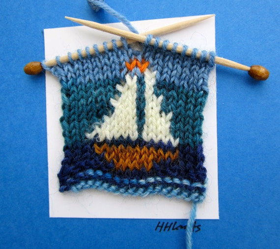 Sail Boat // Handknitted Note or Greeting Card