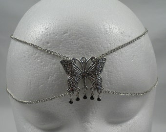 Chain Maille Butterfly Circlet in Black Crystal
