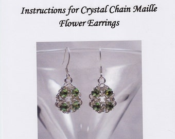 Crystal Chain Maille Flower Earrings Instructions PDF