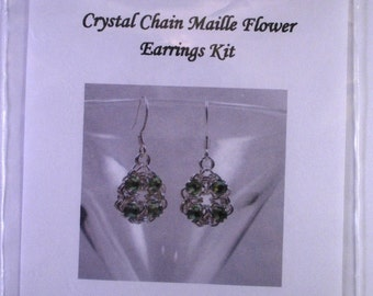 Swarovski Crystal Chain Maille Flower Earrings Kit with Instructions