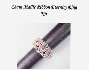 Swarovski Chain Maille Ribbon Eternity Ring Kit with Instructions