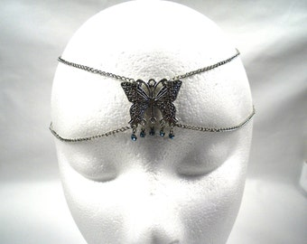 Chain Maille Butterfly Circlet in Blue Crystal