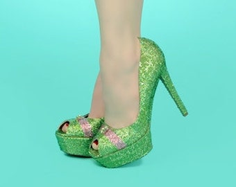 Swarovski Crystal Encrusted High Heels - As Seen in Retro Lovely Magazine