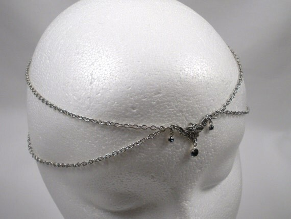 Chain Maille Circlet in Midnight Blue Crystal