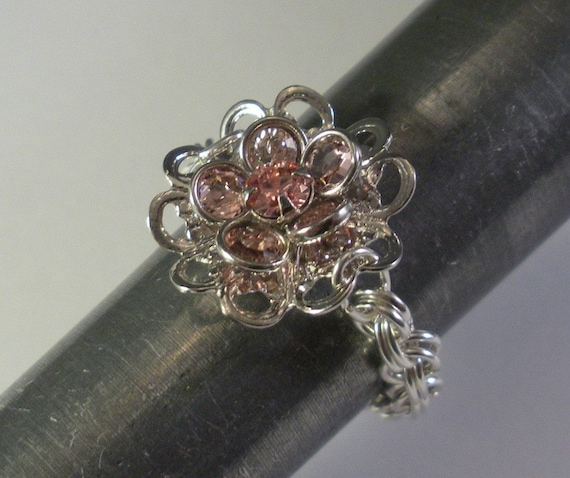 Clearance Sale - Swarovski Crystal Daisy Ring in Rose Pink