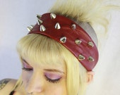 Spring Cleaning Sale - Red Headbanger Studded Recycled Leather Headband - Wide