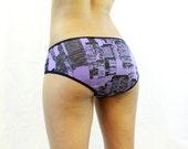 Skyscrapers - Low Rise Panties Knickers Briefs Underwear - Purple Black Tall Buildings Skyline Cityscape