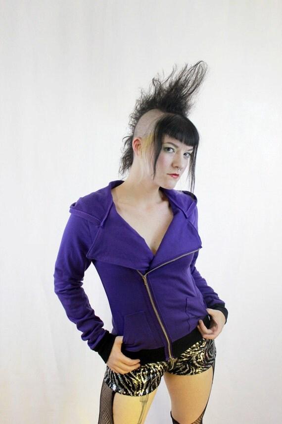 Organic Cotton Purple Motorcycle Asymmetrical Hoodie Jacket Punk Bamboo Eco Friendly