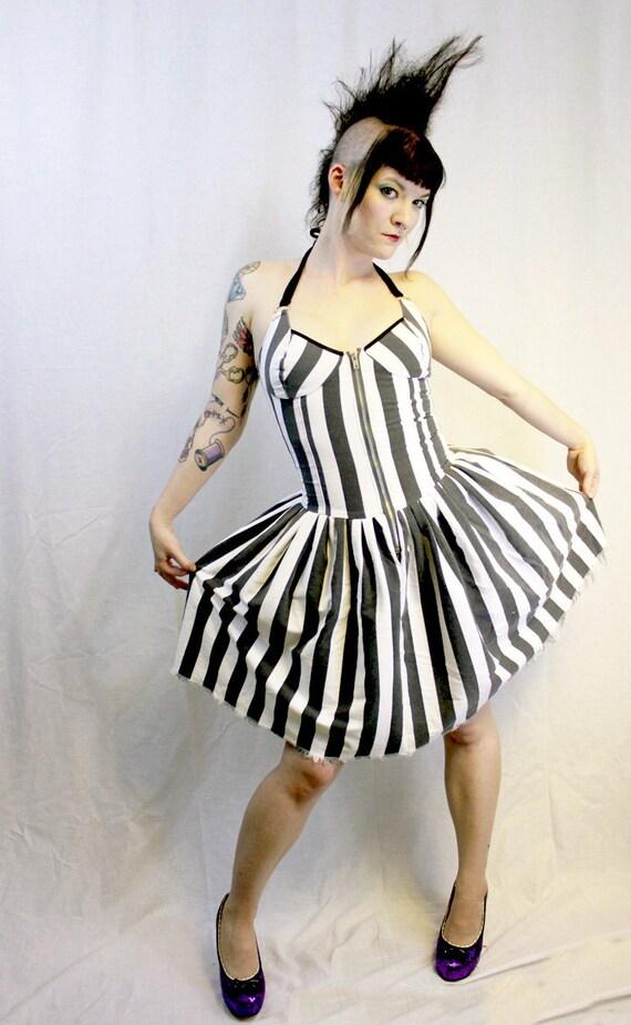 Nautical Black White Stripe Summer Dress - Punk Goth Circus - Zipper Halter Contour Paneling - pirate