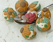 Handmade Sunflower Polymer Clay Beads Large rounds ovals