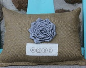 Personalized Pillow, personalized gift, name pillow, flower pillow, burlap pillow, gifts under 25, Christmas gift, rustic pillow