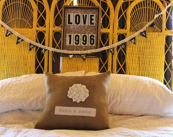 Personalized Pillow, Bridal Shower Gift, Anniversary Gift, Engagement Gift, Gift for Couple, 16 X 16 Pillow, Burlap Pillow, Wedding Pillow