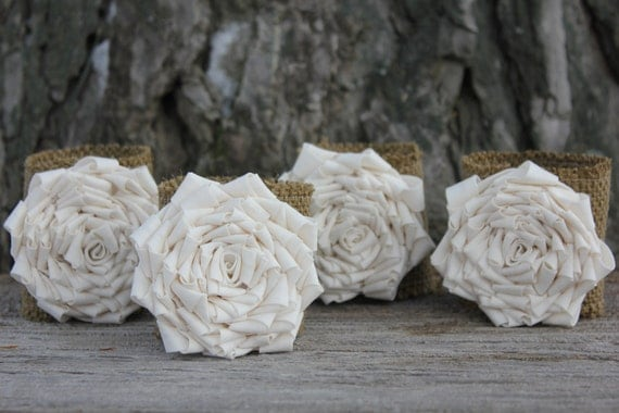 Burlap Flower Napkin Rings - set of four - Wedding Napkin Rings - Table Decor