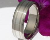 Titanium Platinum Wedding Band - Platiun Ring - p20 Flat