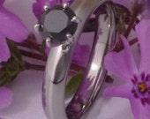 Black Diamond Solitaire Titanium Engagement Ring - Platinum Inlay Band - bd19