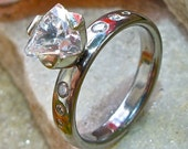 Titanium and Platinum Trillion Diamond Solitaire Engagement Ring with White Sapphire-e10. Shown 3.5mm Wide