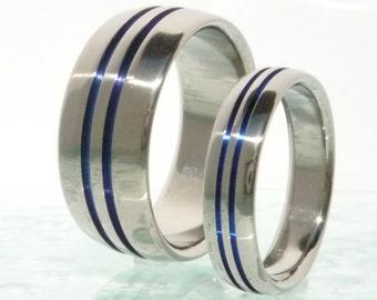 Thin Blue Line Titanium Rings Set - Titanium Engagement Set - Titanium Wedding Set - Unique Promise Ring Set - stb1