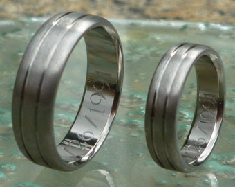 Titanium Wedding Band Set - Titanium Promise Ring Set - Simple Elegant Titanium Set - stn19