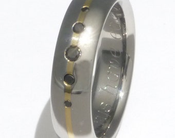 Black Diamond Titanium Band with 18kt Gold Inlay - Wedding Ring - bd15