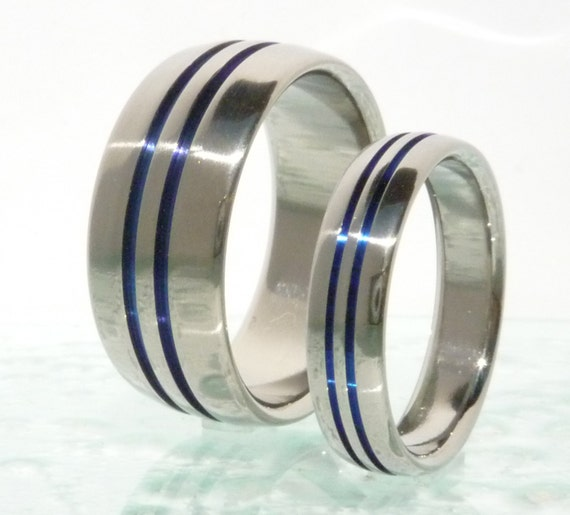 Thin Blue Line Titanium Rings Set Titanium Engagement Set