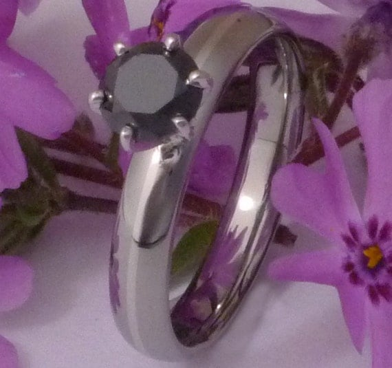 Black Diamond Solitaire Titanium Engagement Ring - Platinum Inlay Band - bd19