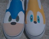 Hand Painted Sonic and Tails Vans Slip On Shoes