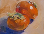 fruit, abstract, contemporary, daily painting,Persimmons painting by Linda Hunt. 6X6