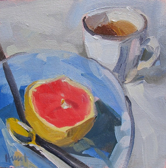 original painting 'Grapfruit and Herbal Tea' by Linda Hunt 6X6 small painting, daily painting