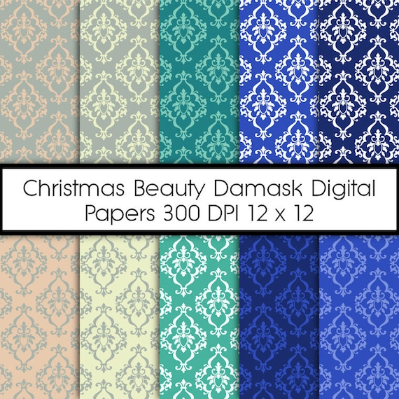 Damask Digital Paper - Teal and Blue