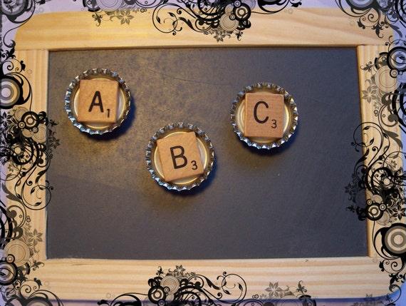 Magnetic Scrabble Bottle Cap Alphabet