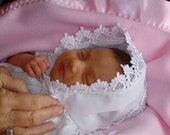 Baby hankie Handkerchief Magic Bonnet turns handkerchief for wedding Venice lace White or IVORY