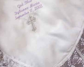 Satin Baby Christening Blanket Baptism Day personalized name/date free