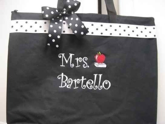 Teacher Tote Bag personalized GIFT 4 special teacher Ribbon