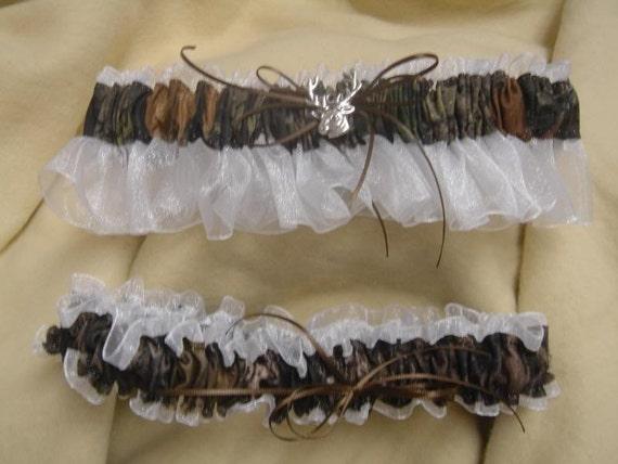 Mossy Oak Break up camouflage WHITE sheer bridal garter set PLUS SIZE  Black, Pink, Brown, ivory,  blue any color sheer Wedding