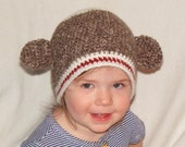 Amigurumi Sock Monkey Beanie Crochet Hat Gift, Custom Order Ready in 1 week