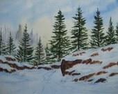 "Original Watercolor Art Landscape Painting JUDE - Title "" Rocky Knoll"""