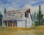 "Original Watercolor Art Landscape Painting JUDE - Title: ""No More Horses"""