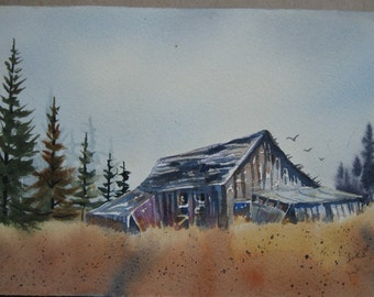 """Original Signed Watercolor Barn Art Scenic Landscape Painting JUDE - Title: """"Yesteryear"""""""