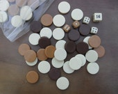 Vintage brown, tan and ivory hard plastic game pieces for altered art or jewelry