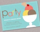 Ice Cream Sundae Custom Personalized Birthday Party Invitation (Digital File)